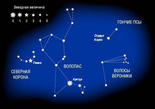 """Созвездия """"Волопас"""", """"Волосы Вероники"""", """"Северная корона"""" и """"Гончие псы"""""""