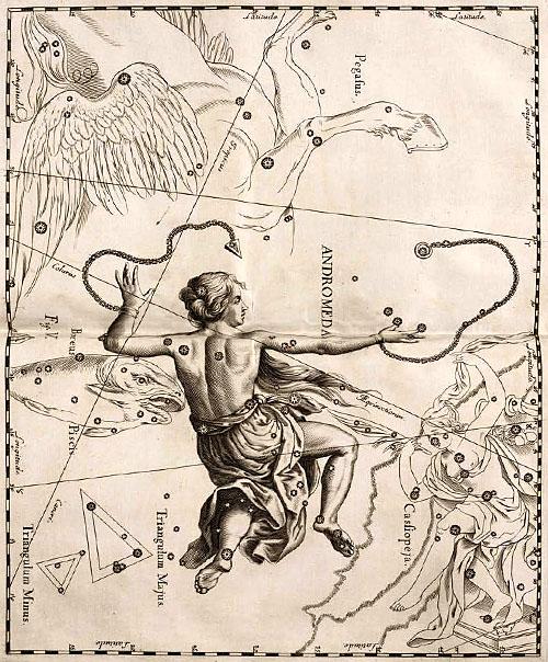 Созвездие Андромеда в атласе Гевелия