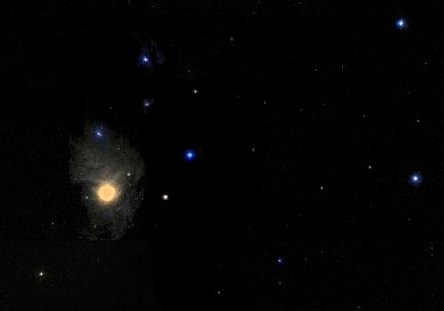Звезда Антарес в созвездии Скорпион.