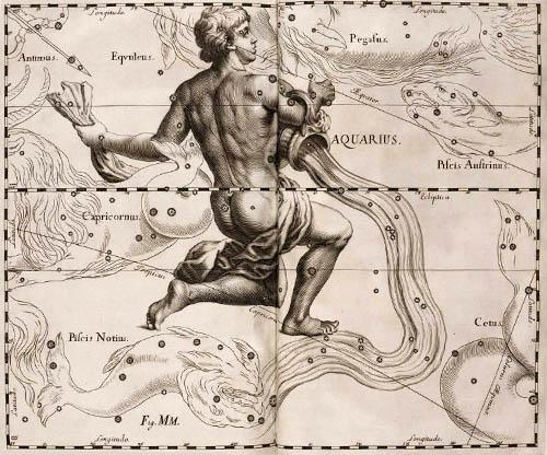 Созвездие Водолей в атласе Гевелия.