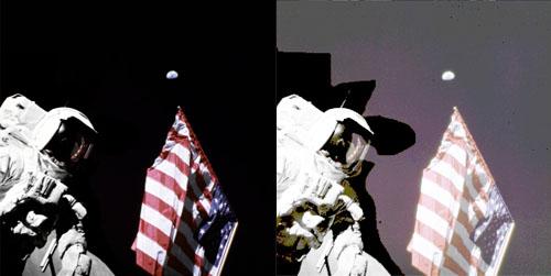 Следы ретуши и монтажа <br>на лунных снимках миссии Аполлон-11