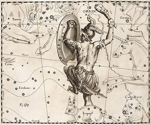 Созвездие Орион в атласе Гевелия. 1690.