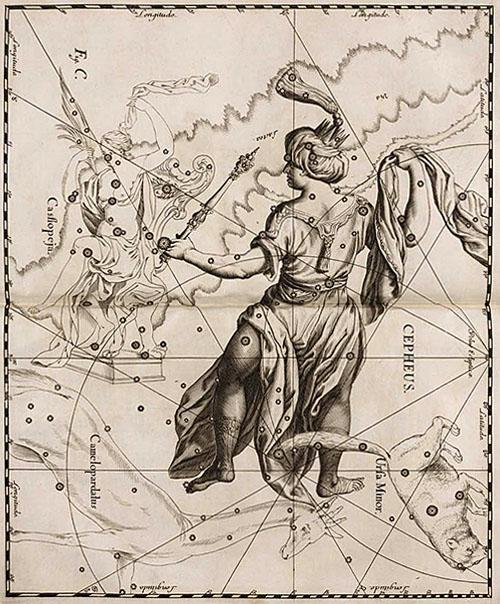 Созвездие Цефей в атласе Гевелия