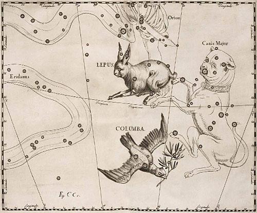 Созвездия Заяц и Голубь в атласе Гевелия