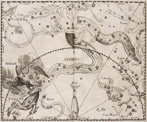 Созвездия Феникс, Эридан, Тукан в атласе Гевелия