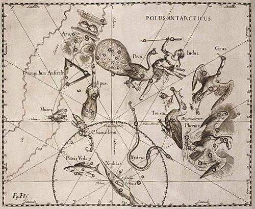 Созвездия Южного полюса в атласе Гевелия.
