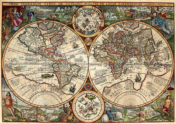 Карта Петера Планциуса с планисферами созвездий.